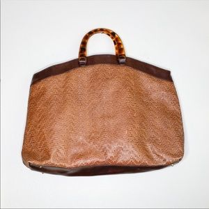 Faux leather Weaved tortoise Top Handle Tote